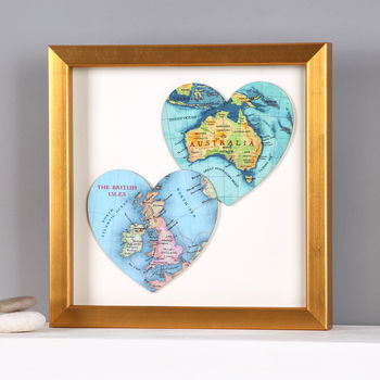 Two Map Hearts Golden Wedding Anniversary Print