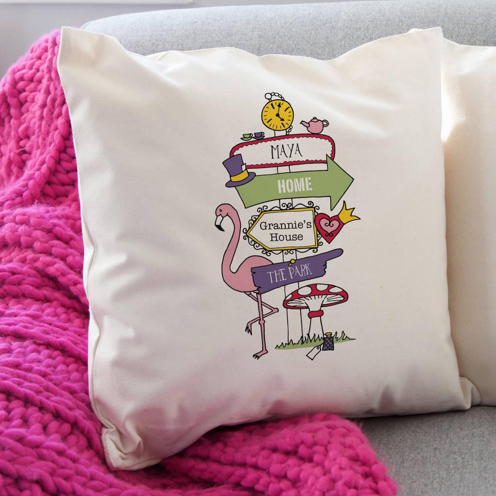 Personalised Wonderland Signpost Cushion