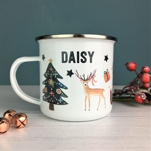 Classic Christmas Enamel Mug - table decorations