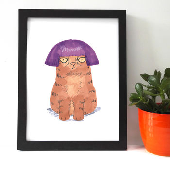 Cat In Purple Wig Giclee Print