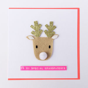 Personalised Christmas Reindeer Greeting Card