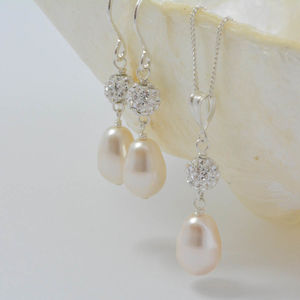 Pearl And Crystal Wedding Necklace And Earring Set - bridal edit
