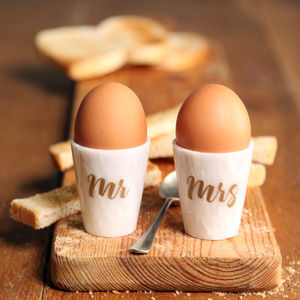 Marble Pair Of Personalised Egg Cups - gifts for couples