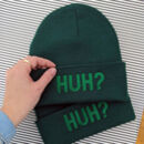 Kids 'Huh?' Embroidered Knitted Beanie Hat
