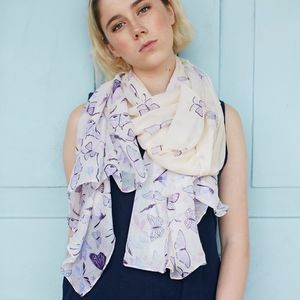 Cream And Purple Butterfly Scarf - scarves