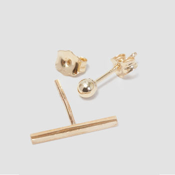 Bar And Ball Stud Earrings