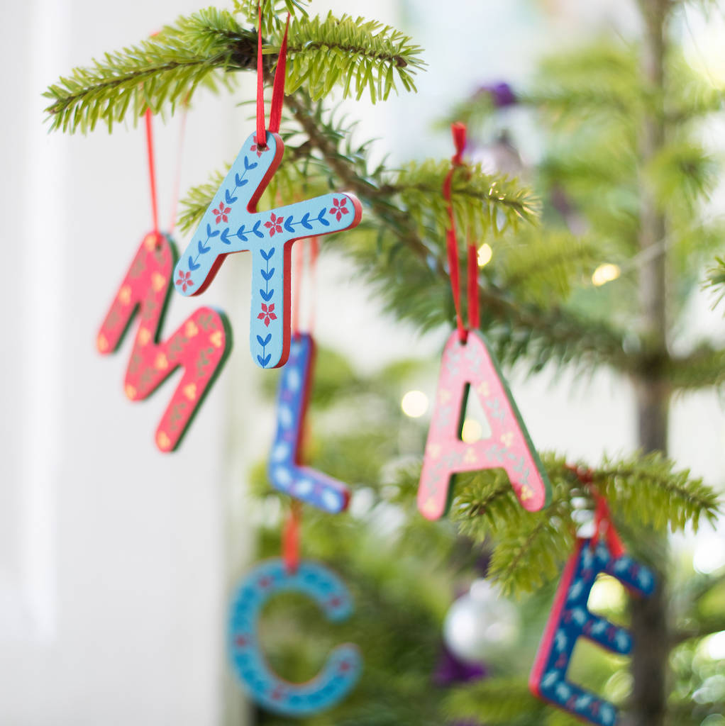 retro folksy painted wooden letter decorations - Christmas Letter Decorations