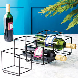Geometrc Wire Bottle Holder - storage & organisers