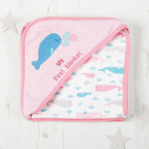 Personalised Organic Whale Hooded Blanket