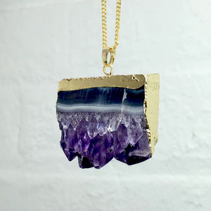 Elemental Amethyst Geode Slice Necklace