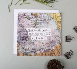 'Show Me The World' Vintage Map Valentine's Card - funny cards