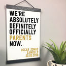 'We're Officially Parents' Personalised New Baby Print