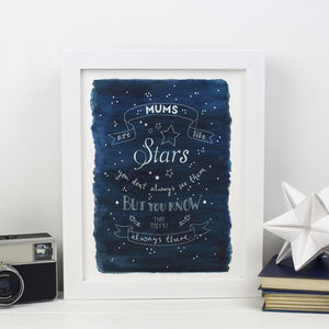 'Mums Are Like Stars…' Print For Mum - typography