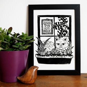 Funny Cat Linocut Print Judging You On The Inside