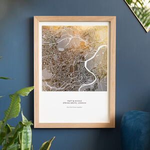 Personalised Metallic Map Print