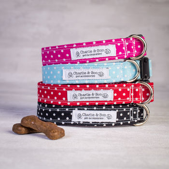 Dog Collar In Red, Pink, Blue And Black Polka Dots
