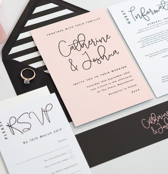 Lexi Black And Blush Wedding Invitations
