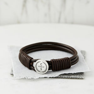 Personalised Crest Silver And Leather Bracelet