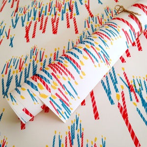 Coloured Candles Birthday Wrapping Paper - ribbon & wrap