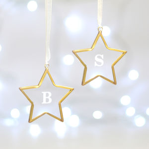 Set Of Two Personalised Glass Star Decorations - tree decorations