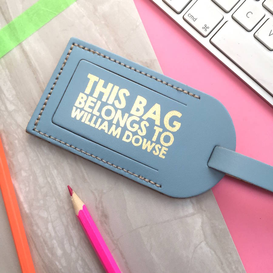 Leather Luggage Tag With Metallic Print