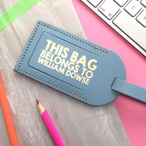 Leather Luggage Tag With Metallic Print - stocking fillers for her