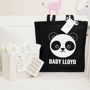 Personalised Panda Hospital Bag And First Night Kit
