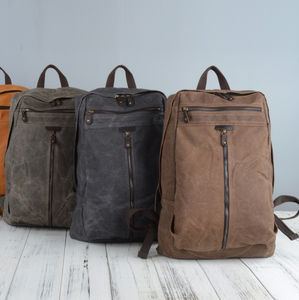Zip Front Waxed Canvas Backpack