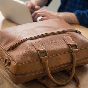 Leather Briefcase Messenger Bag - gifts for husband or boyfriend