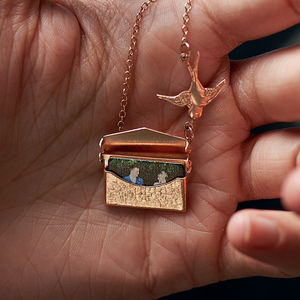 Personalised Photo Envelope Necklace With Bird - heartfelt gifts for her