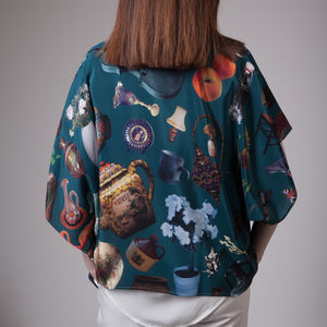 Handmade Silk Kimono, Photographic Tea Cup - winter sale