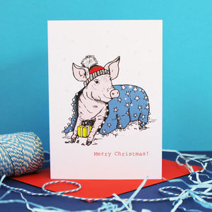 Pig In Blanket Cute Christmas Card - cards