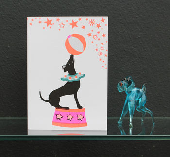 Party Dog Risograph Greeting Card