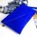 personalised cobalt blue suede clutch bag