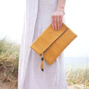Yellow Suede Slouchy Clutch Bag