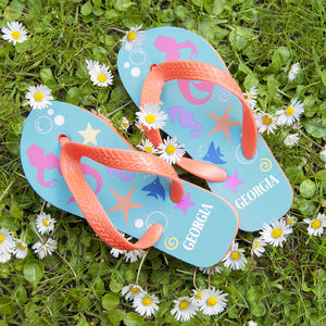 Girls Personalised Flip Flops - summer footwear