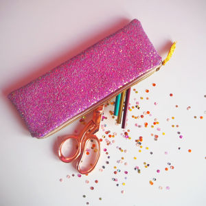 Sparkly Glitter Pencil Case - writing