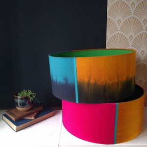 Silk Dip Dyed Large Drum Lampshades - lampshades