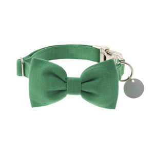 Bold Green Bow Tie Dog Collar - pet collars