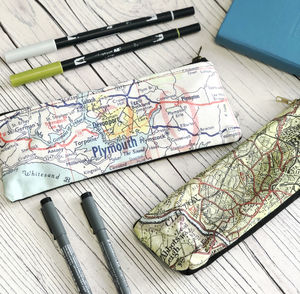 Personalised Map Print Pencil Case - pencil cases