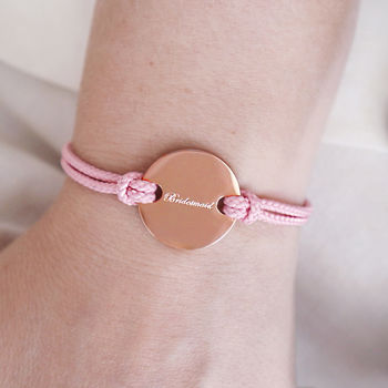 'Bridesmaid' Engraved Friendship Bracelet Gift