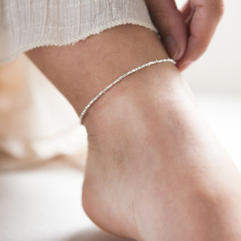 Slim Silver Nugget Ankle Chain