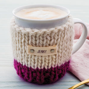 Personalised Colour Block Cosy And Mug - for friends