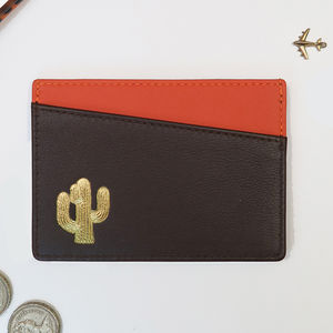 Personalised Leather Card Wallet With Travel Motif