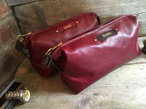 Ox Blood Red Leather Toiletry Bag - men's grooming & toiletries