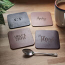 Personalised Recycled Vintage Leather Set Of Coasters
