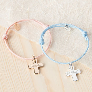 Personalised Cross Charm Bracelet Sterling Silver and Gold Plated on Dusty Pink and Sky Blue Braid