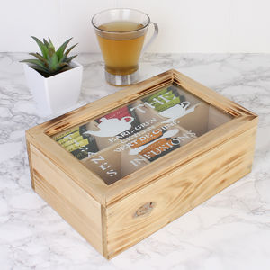 Wooden Six Compartment Tea Box