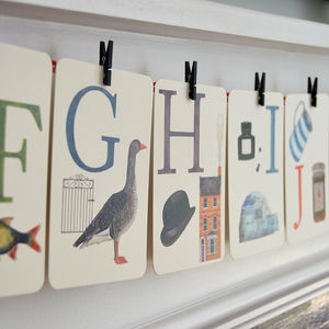 Alphabet Illustrated Flash Learning Cards - children's room accessories