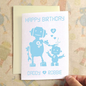 Personalised Robot Birthday Card - special age birthday cards